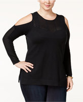 Jessica Simpson Trendy Plus Size Cold-Shoulder Sweater
