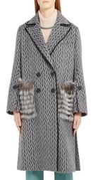 Fendi Double Breasted Wool & Alpaca Blend Coat with Genuine Fox Fur Pockets