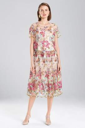 Natori Embroidered Tulle Top