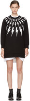 Neil Barrett Black Fairisle Thunderbolt Sweatshirt Dress