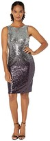 Calvin Klein Sequin Sheath Dress (Silver/Aubergine) Women's Dress