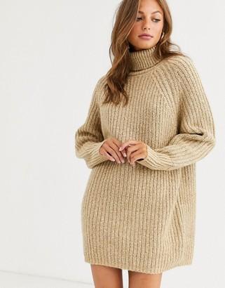 Asos Design DESIGN chunky mini dress with roll neck-Beige