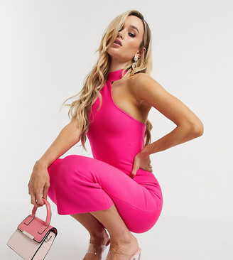 Band Of Stars exclusive one shoulder bandage midi dress in hot pink