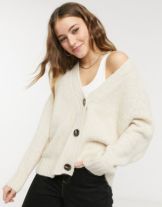 Pimkie chunky knit button front cardigan in cream