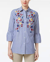 Charter Club Cotton Striped Embroidered Shirt, Only at Macy's