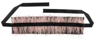 Natori Duchess Satin Belt With Feathers