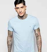 Farah T-Shirt With F Logo In Slim Fit In Bluebell