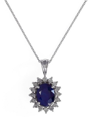 Effy Royalty 14K White Gold, Diamond Sapphire Pendant Necklace