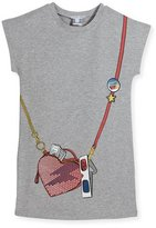 Little Marc Jacobs Essential Jersey Heart Crossbody Dress, Gray, Size 4-5