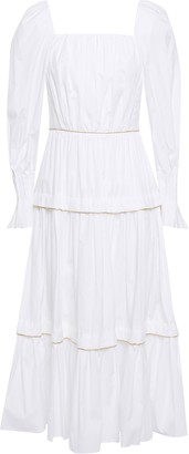 Peter Pilotto Tiered Gathered Metallic-trimmed Cotton-poplin Midi Dress