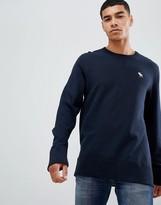 Abercrombie & Fitch icon logo print crew neck sweatshirt in navy