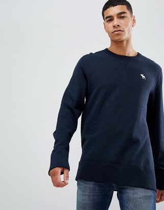 Abercrombie & Fitch icon logo print crew neck sweatshirt in navy