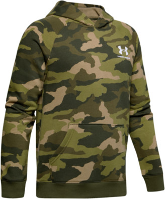 Under Armour Rival Printed Hoodie Sweatshirt - Outpost Green / White