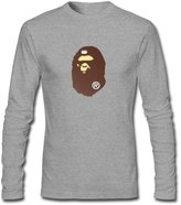 JUXING Men's Bape Brown And White Long Sleeve T-shirt L ColorName
