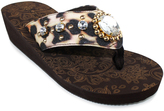 Tan Leopard Mantua Wedge Sandal