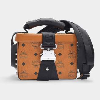MCM Jemison Visetos Small Crossbody Bag In Cognac Coated Canvas