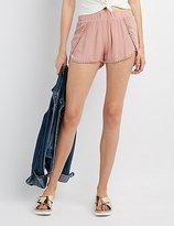 Charlotte Russe Crochet-Trim Dolphin Shorts