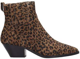 Ash Future Low Heels Ankle Boots In Animalier Fabric