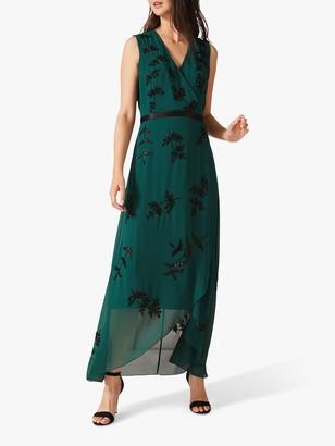 Phase Eight Serena Beaded Wrap Dress, Emerald Green