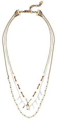 Lucky Brand Layered Beaded Stone Necklace (Two-Tone) Necklace