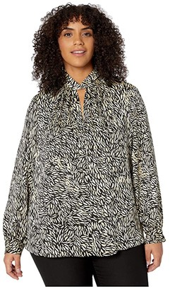 Vince Camuto Specialty Size Plus Size Long Sleeve Twist Neck Drifting Petals Blouse (Rich Black) Women's Clothing