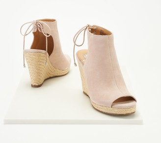 Laurie Felt Suede Peep-Toe Wedge