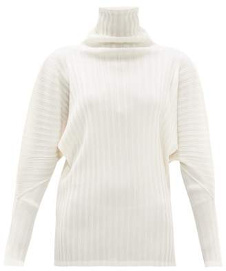 Pleats Please Issey Miyake High-neck Technical-pleated Top - Womens - Ivory