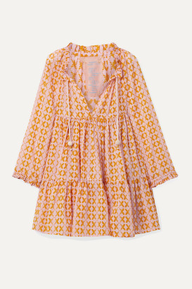 Yvonne S Hippy Tiered Printed Cotton-voile Mini Dress - Pastel pink