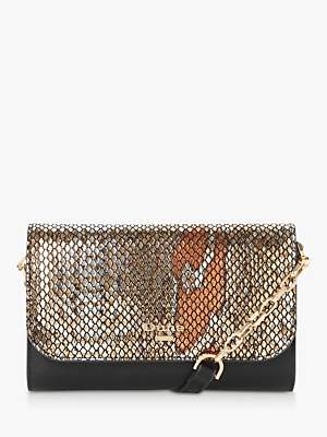 Dune Kauraz Leather Clutch Bag, Pewter