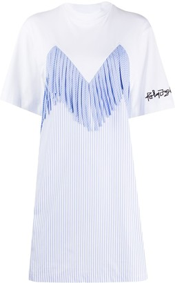 Palm Angels fringe stripe detail T-shirt dress