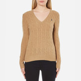 Polo Ralph Lauren Women's Kimberley Jumper Cashmere Blend Dark Beige Heat