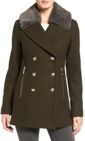 Vince Camuto Women's Faux Fur Trim Peacoat