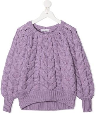 BRUNELLO CUCINELLI KIDS Raglan Sleeve Cable-Knit Sweater
