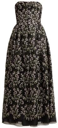 Erdem Karenna Deep Sea-embroidered Organza Gown - Womens - Black Pink