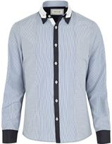 River Island Mens Blue contrast placket double collar shirt