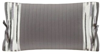 Natori Hanae Gray Embroidered Oblong Pillow