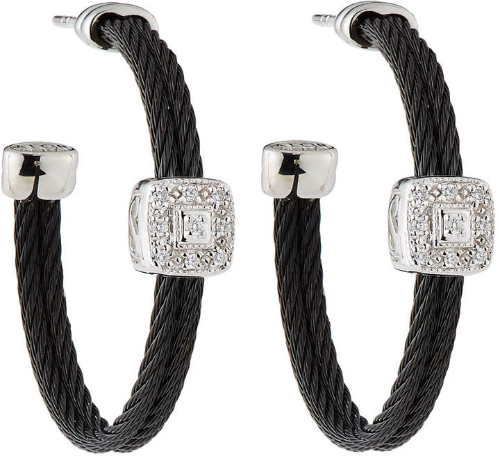 Alor Noir Steel & 18k Diamond Cable Hoop Earrings