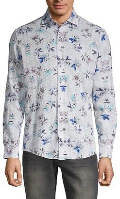 Ron Tomson Floral Cotton Linen Button-Down Shirt