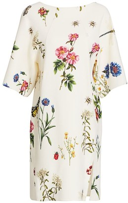 Oscar de la Renta Floral Wool-Blend Shift Dress