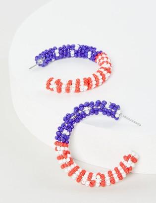 Lane Bryant Beaded Americana Hoop Earrings
