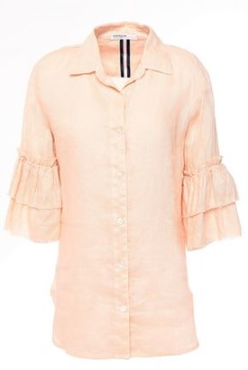 Stateside Frayed Tiered Linen Shirt