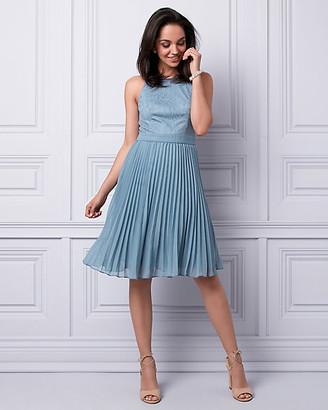 Le Château Lace & Chiffon Halter Dress