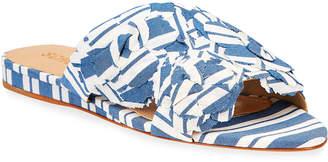 Schutz Ilaria Denim Patch Fabric Slide Sandals