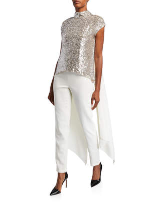 Sachin + Babi Eliza Sequin Mock-Neck Cap-Sleeve Blouse with Tails