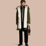 Burberry Shearling Lined Cotton Canvas Parka