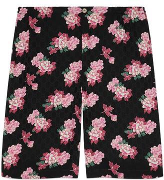 Gucci Peony print silk shorts