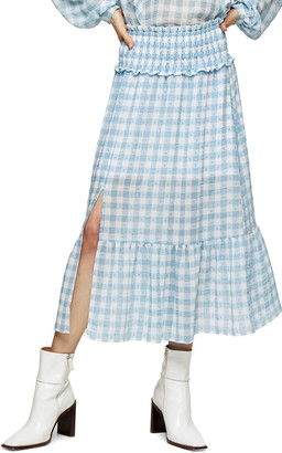 Topshop Gingham Smocked Tiered Midi Skirt