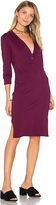 Bobi Long Sleeve Button Front Dress in Red. - size XS (also in )