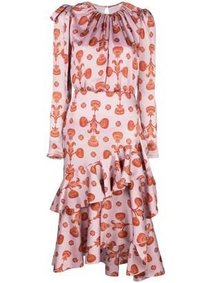 Johanna Ortiz Acordeon Asymmetric Ruffle Midi Dress