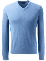 Lands' End Men's Tall Fine Gauge Cashmere V-neck Sweater-Blue Marine Heather